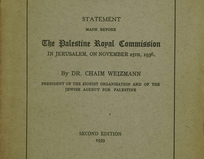 Cover of The Jewish People and Palestine by Chaim Weizmann, Nov. 25, 1936.