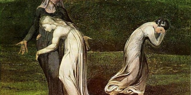 Naomi Entreating Ruth and Orpah to Return to the Land of Moab, William Blake, 1795.