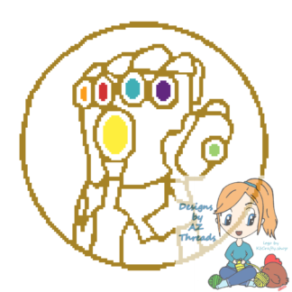 Infinity Gauntlet Glove Graph and Written 140x140 white and black version