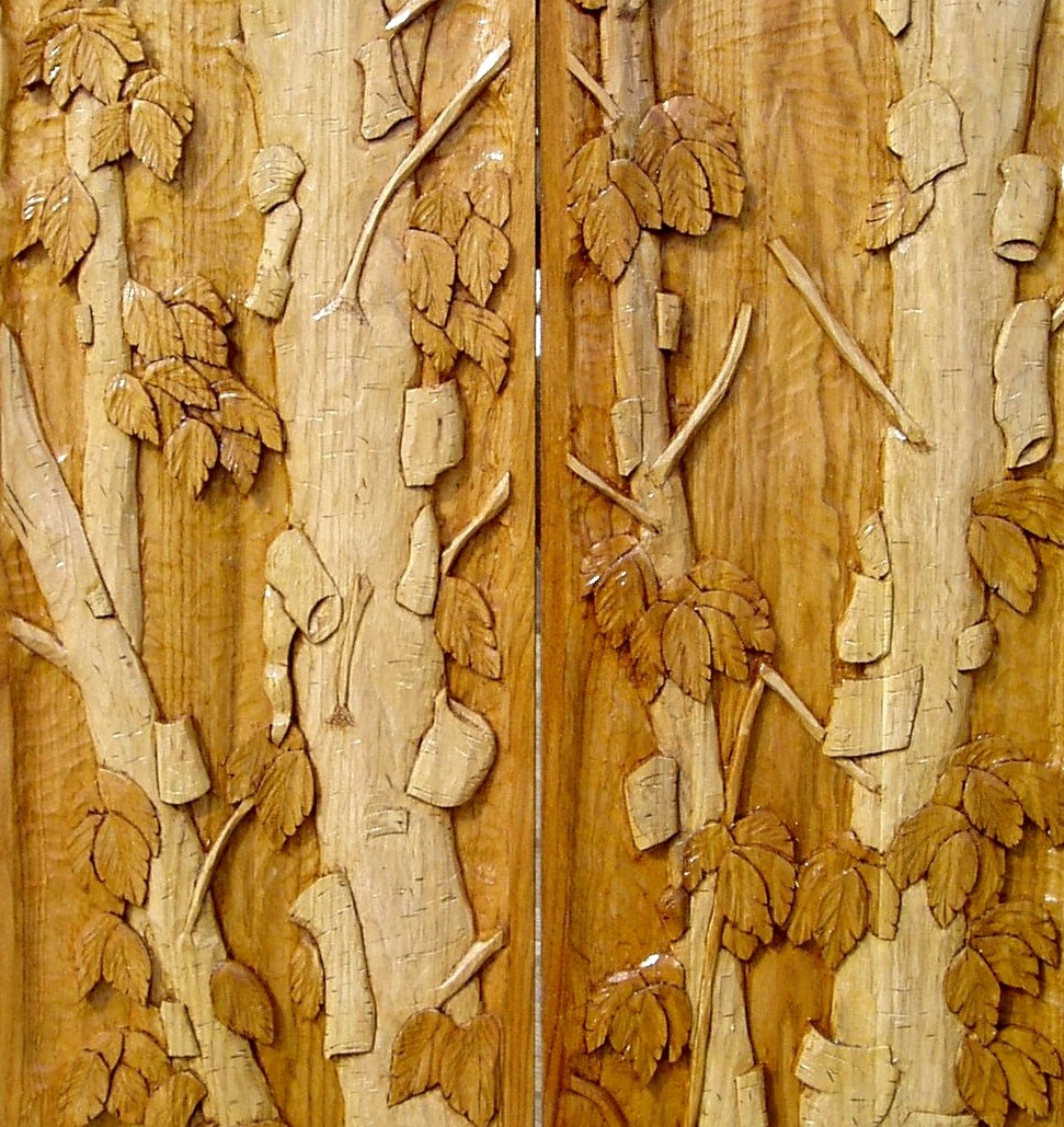 Completed carved Butternut panels for Carved Entry door