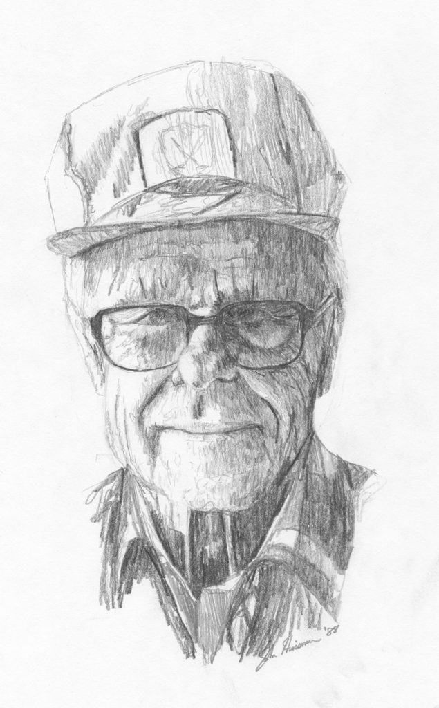 Grandpa, pencil sketch, John Huisman