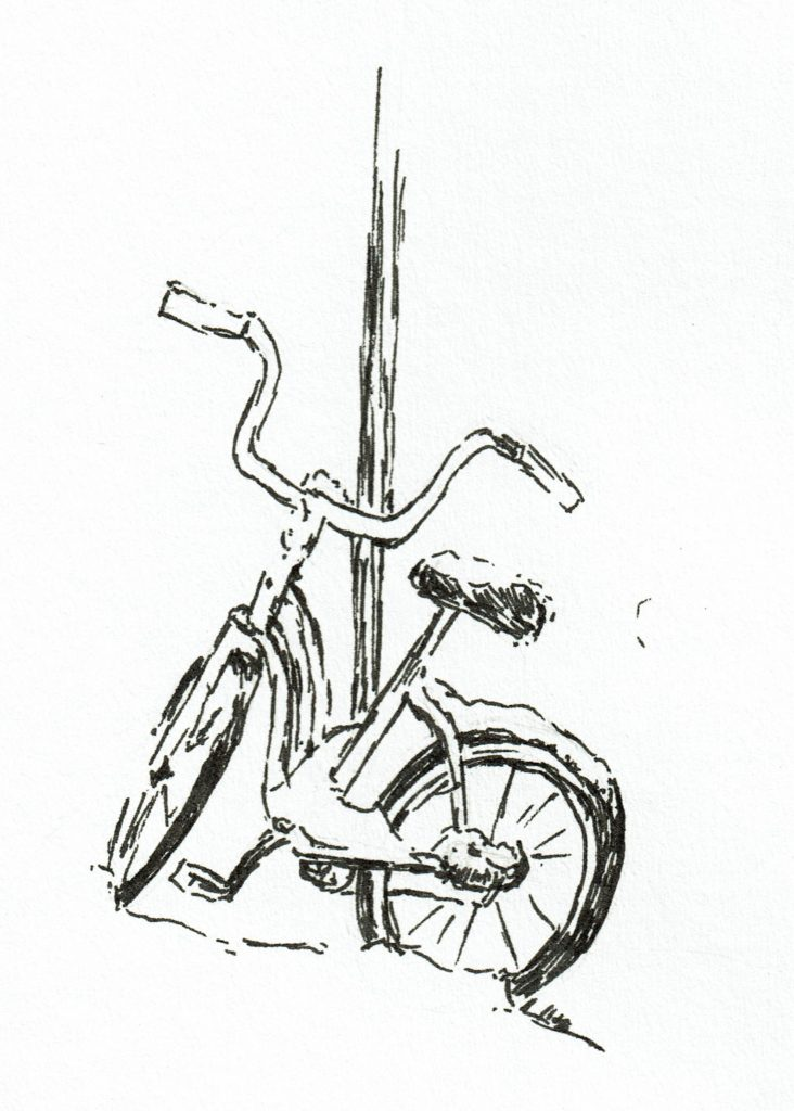 Bike in snow pen & ink quick sketch by John Huisman