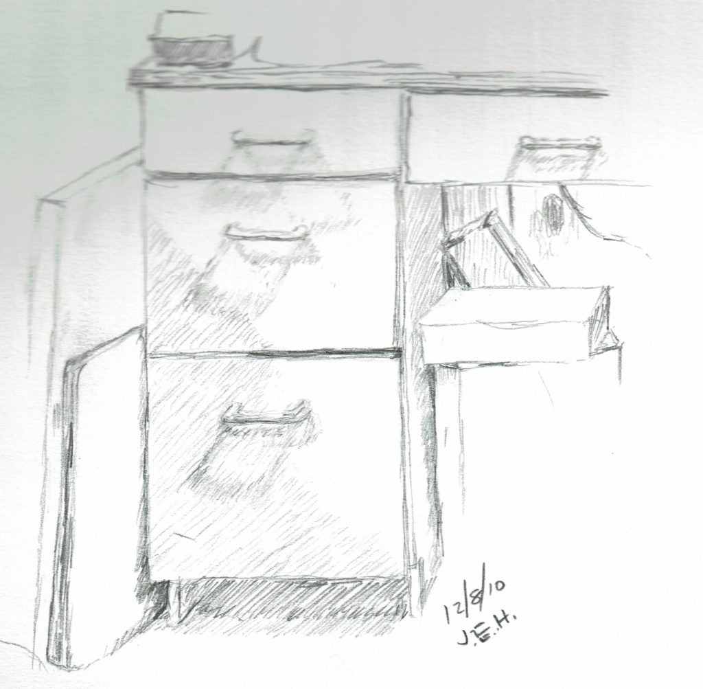 Office Cabinet quick pencil sketch by John Huisman