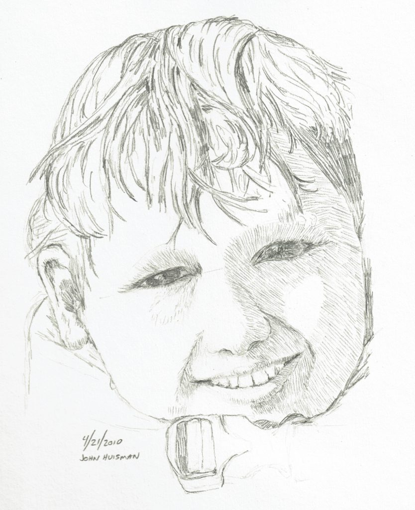 Face in life jacket, quick pencil sketch by John Huisman