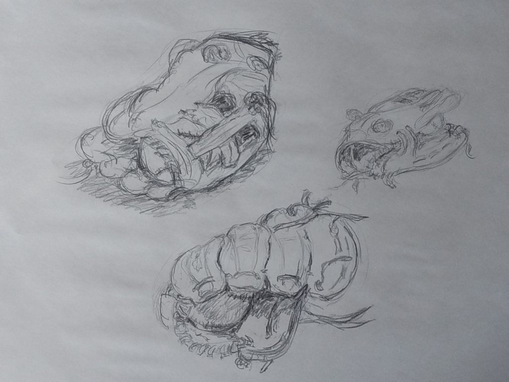 Pencil sketches by John Huisman, baseball and glove studies