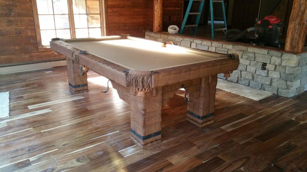 Wild West rustic log hand-made pool table by Vision Billiards