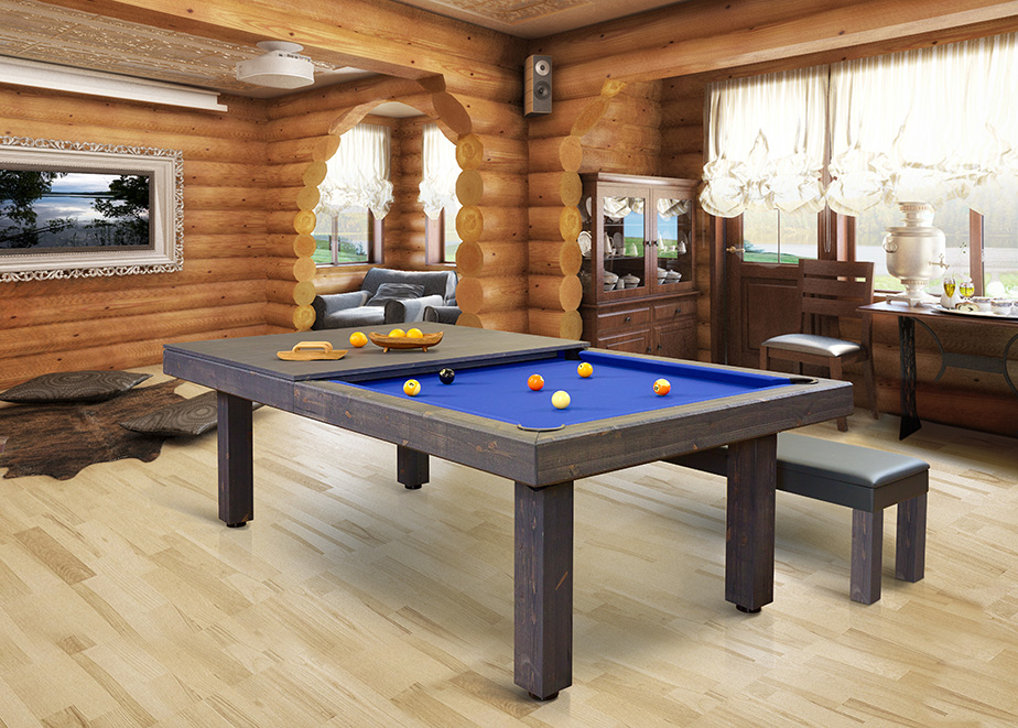 Rustic Convertible Dining pool table Vision Billiards 1