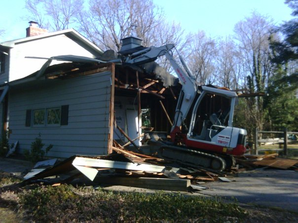Carroll Bros. Contracting Demolishing a garage but leaving the house - Severna Park, MD