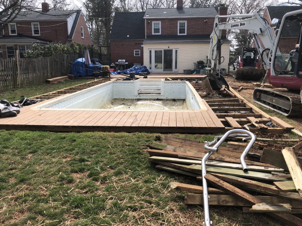 Before Vinyl Pool Removal in Pikesville