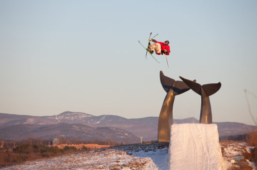 "LJ Strenio, Double Cork 1080 over the Vermont ""Whales' Tails"" along I89"