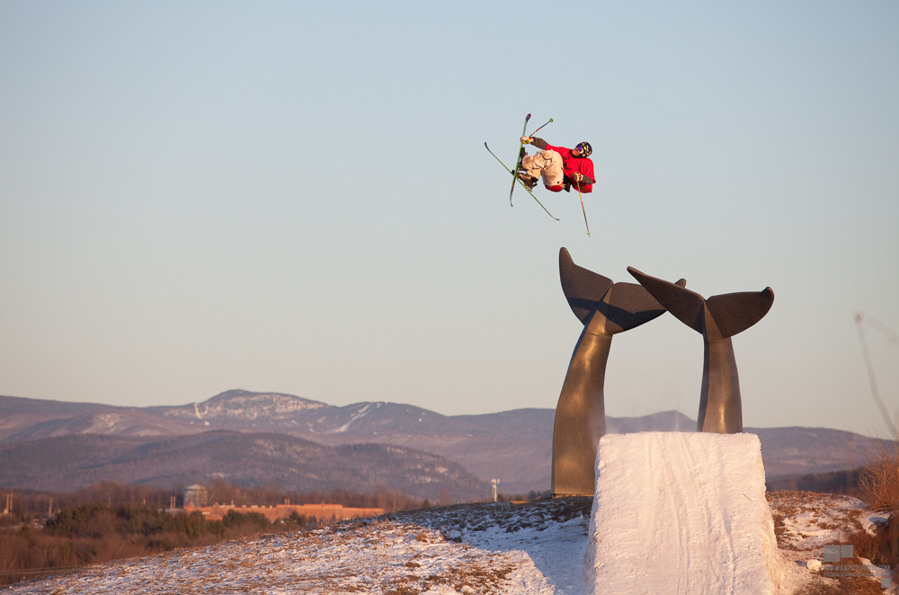 """LJ Strenio, Double Cork 1080 over the Vermont """"Whales' Tails"""" along I89"""