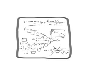 A whiteboard during a machine learning interview.
