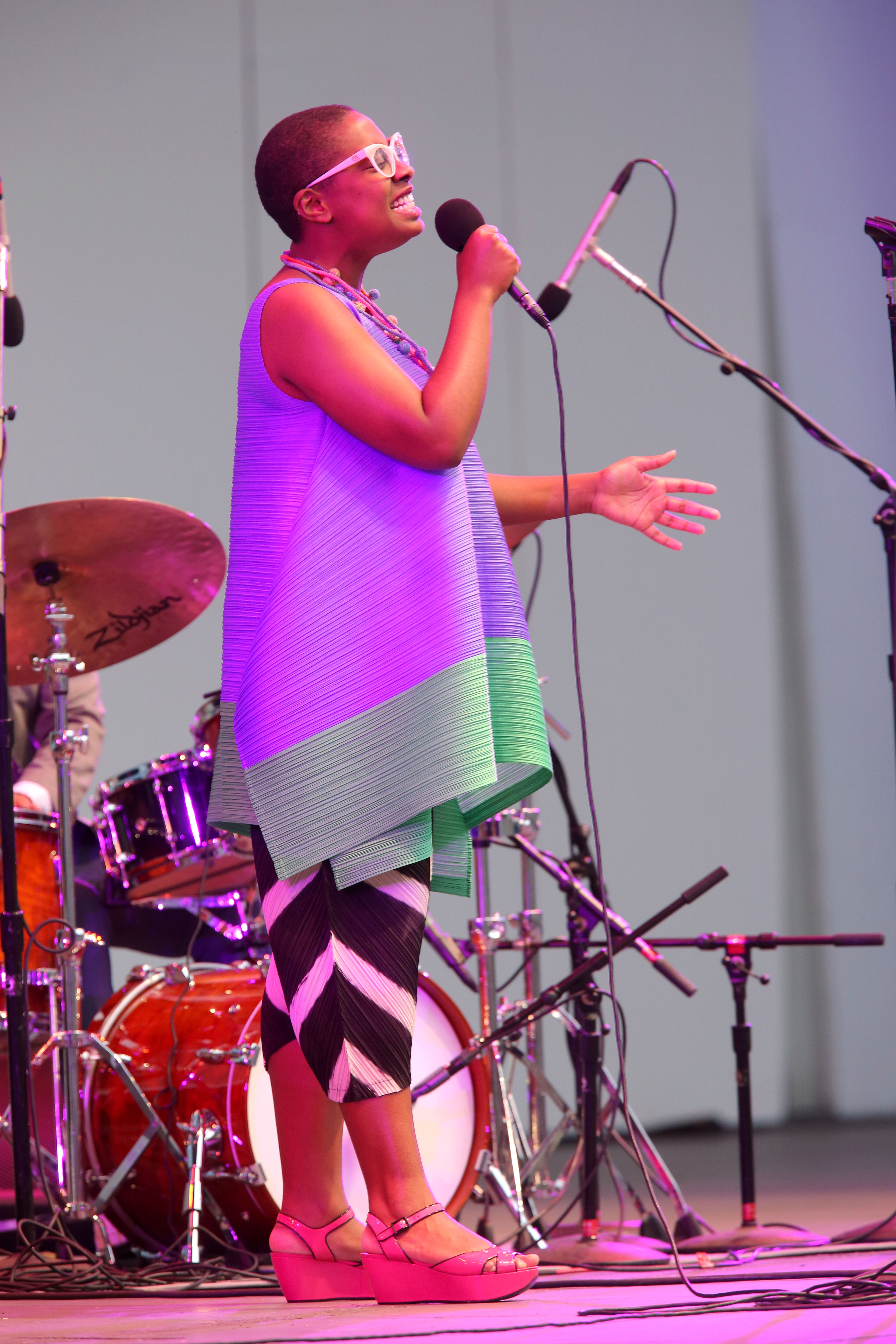 HOLLYWOOD, CA - JUNE 11: Vocalist Cecile McLorin Salvant performs onstage at the Hollywood Bowl Presents the 38th Anniversary Playboy Jazz Festival Day 1 at the Hollywood Bowl on June 11, 2016 in Hollywood, California. (Photo by Mathew Imaging/WireImage) *** Local Caption *** Cecile McLorin Salvant