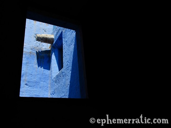 Blue window view, Santa Catalina Monastery and Convent, Arequipa, Peru photo