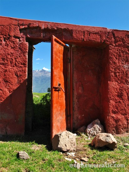 Red door at the bull ring, Cabanaconde, Colca Canyon, Peru photo