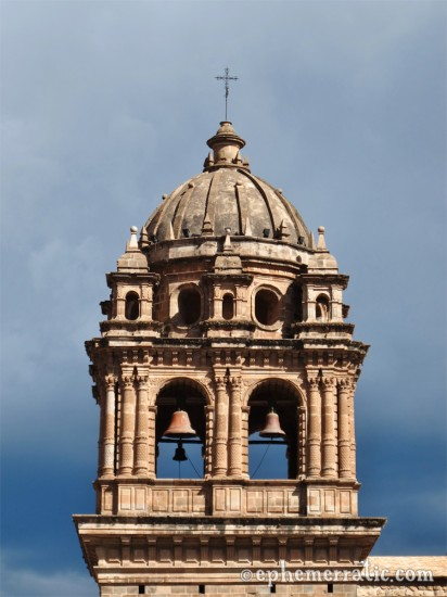 Stormy bell tower of Cathedral Santo Domingo, Cusco, Peru photo