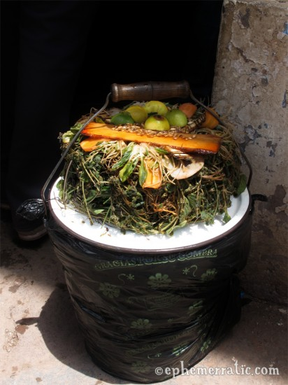 Herbal tea bucket in Cusco's Central Market, Peru