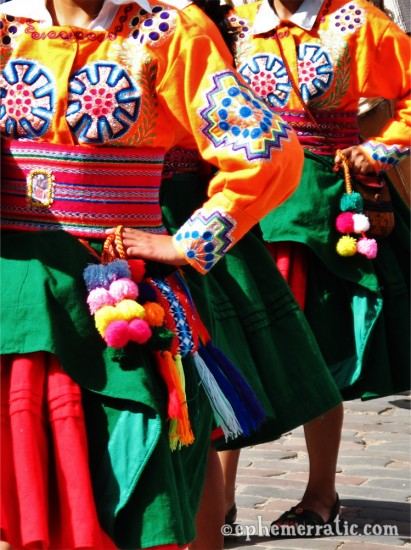 Costumes of women dancers, Saint Joseph's Day, Cusco, Peru photo