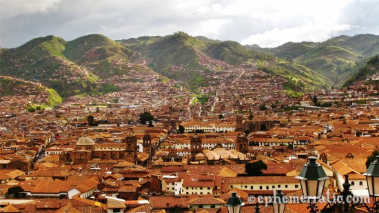 The hills of Cusco, Peru touched in sunlight photo