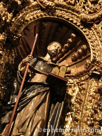 Gilded saint at La Compañía, Arequipa, Peru photo