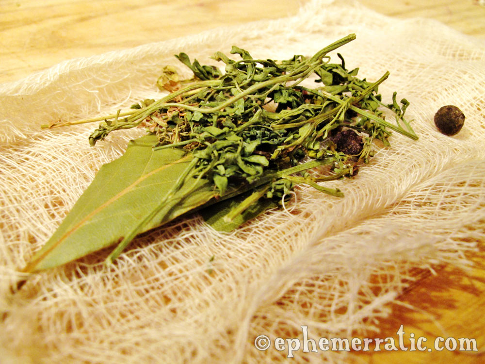 Herb bundle for adobo arequipeño recipe from Peru photo