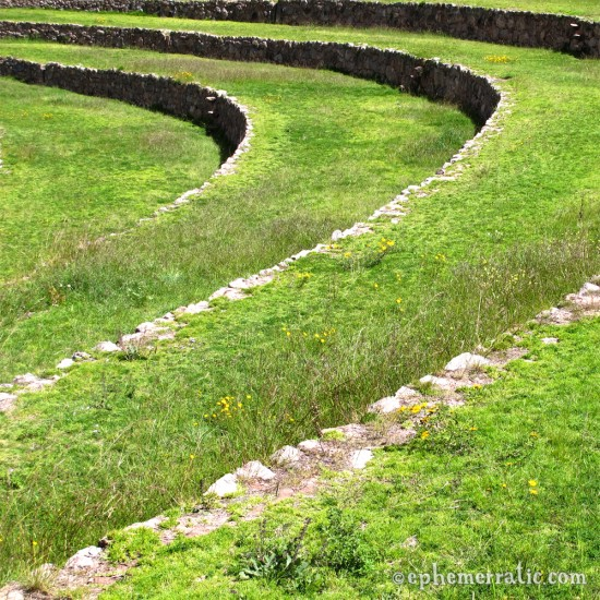 Swooping curves of Incan ruins, Moray, Peru photo