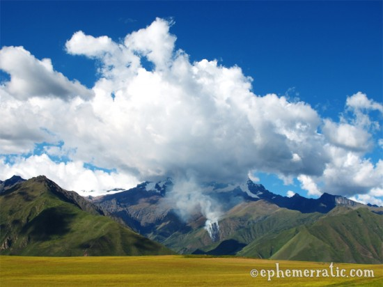 Mountain on fire in the Sacred Valley, Peru photo