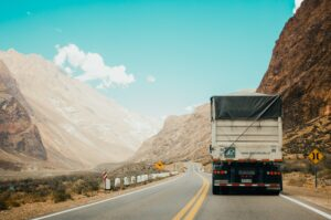 Cargo Truck Driving in day time