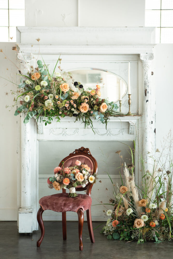 Propcellar prop-up wedding flowers and vintage chair. © Josh and Aleah Photography.