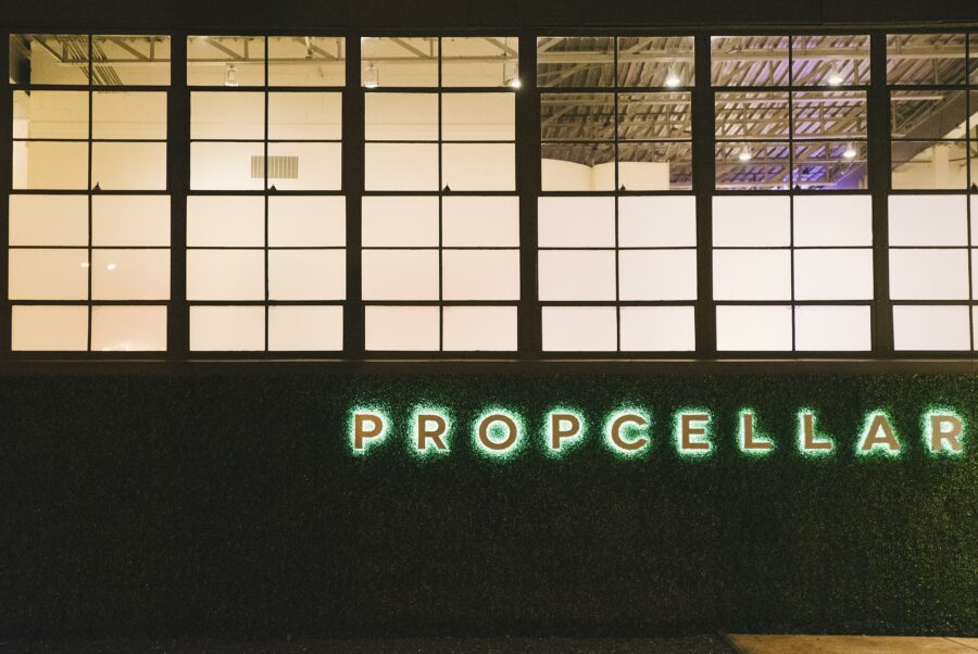 Propcellar exterior at night.
