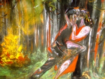 tango in fire pastel on paper