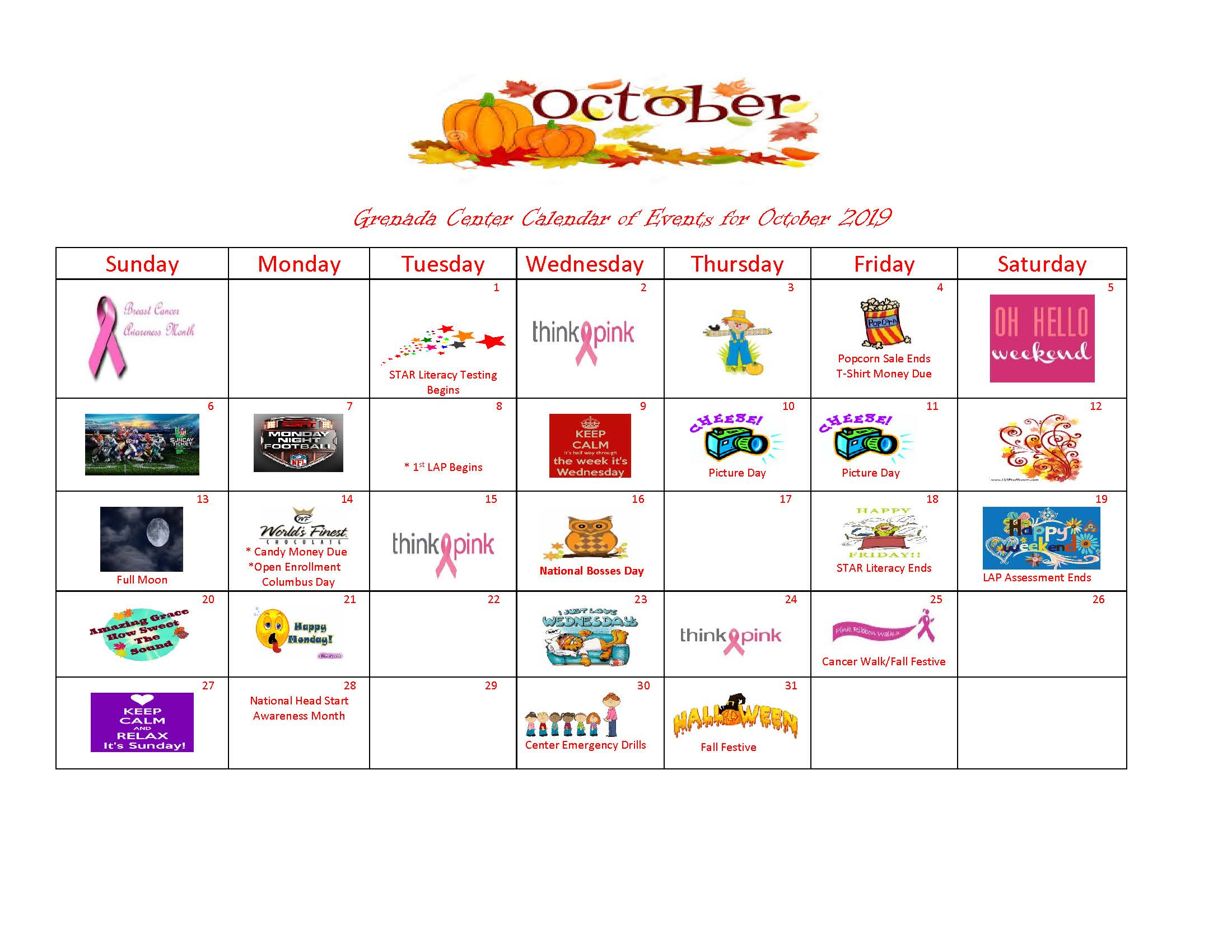 Grenada-Calendar of Events October 2019