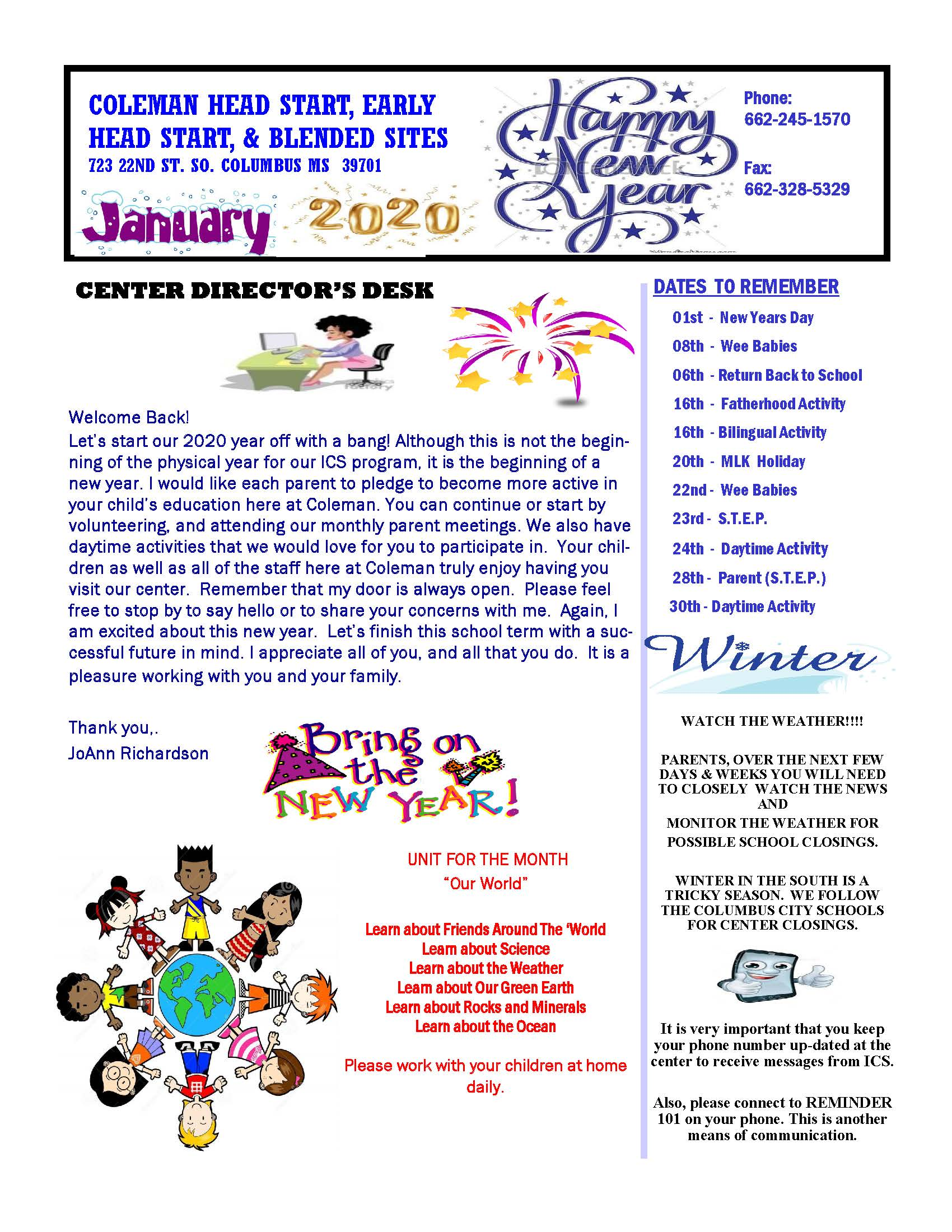 ColemanJANUARY 2020 NEWSLETTER_Page_1