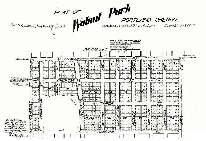 1904 Plat of Walnut Park (Source: Restore Oregon)