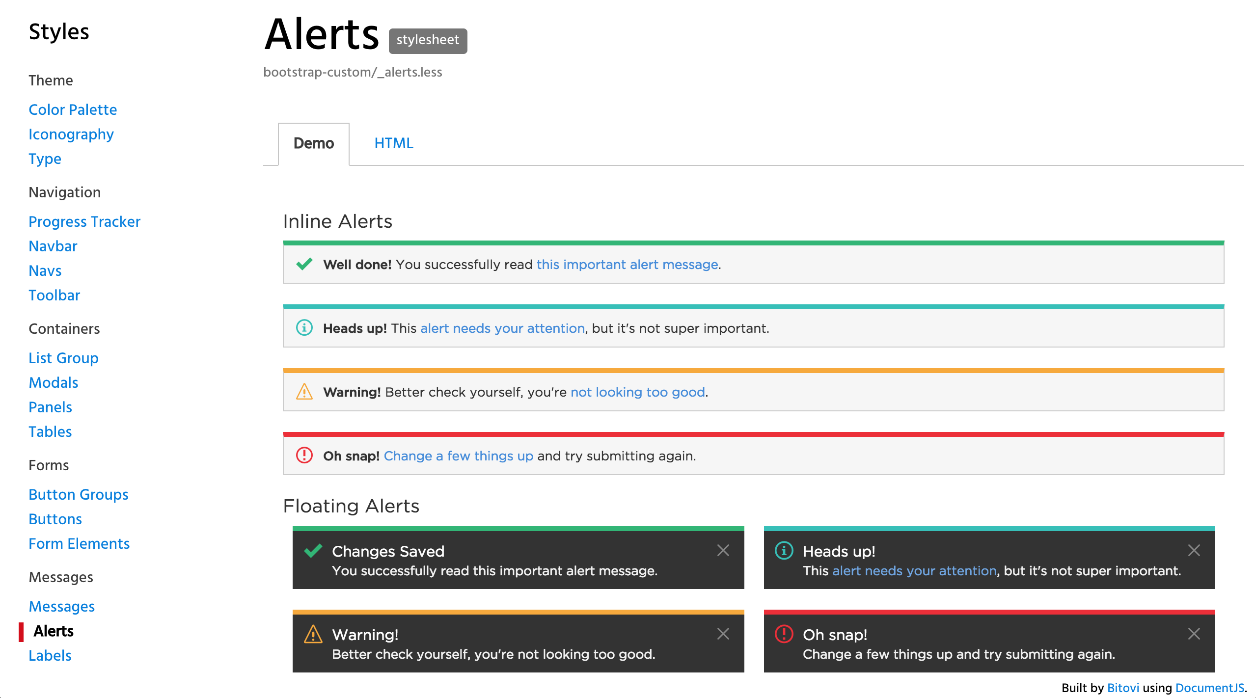 Example of alerts documented in the living style guide