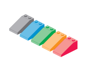 A group of lego blocks in different colors that represent a living style guide