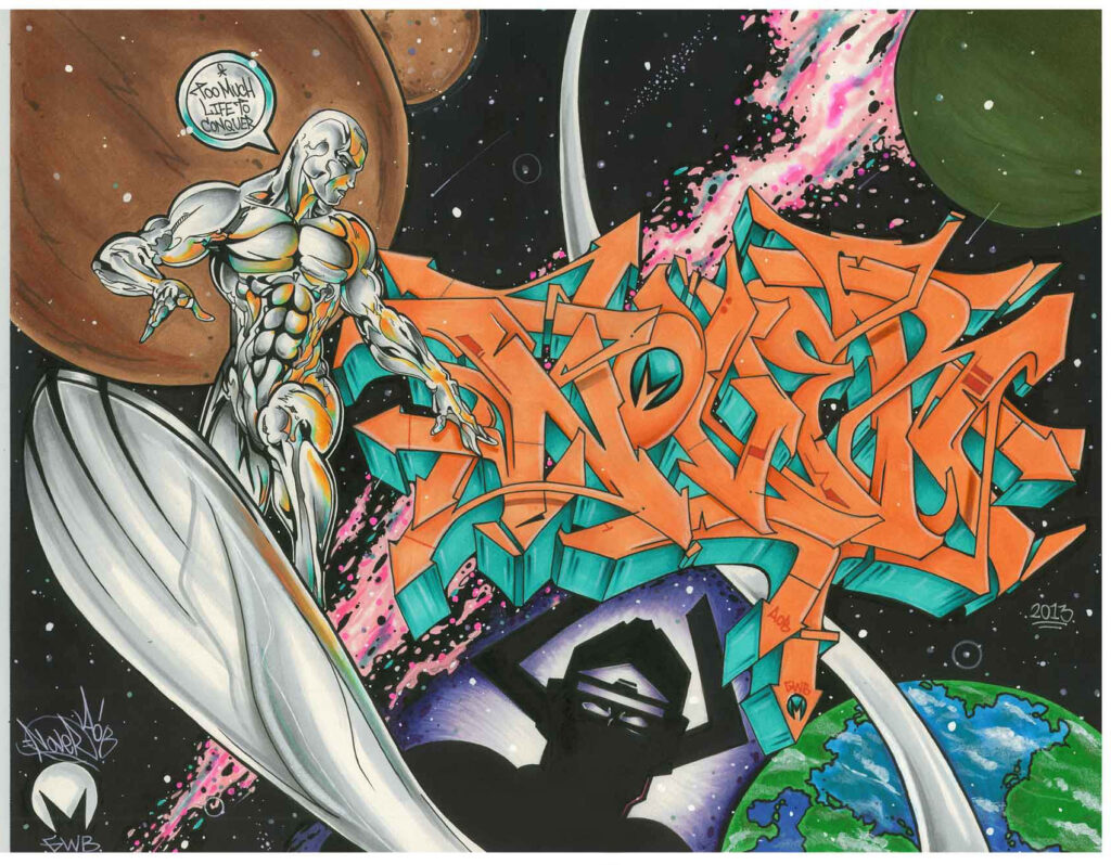 Silver Surfer x Galactus by Nover, markers & Pen on Paper, 2013.