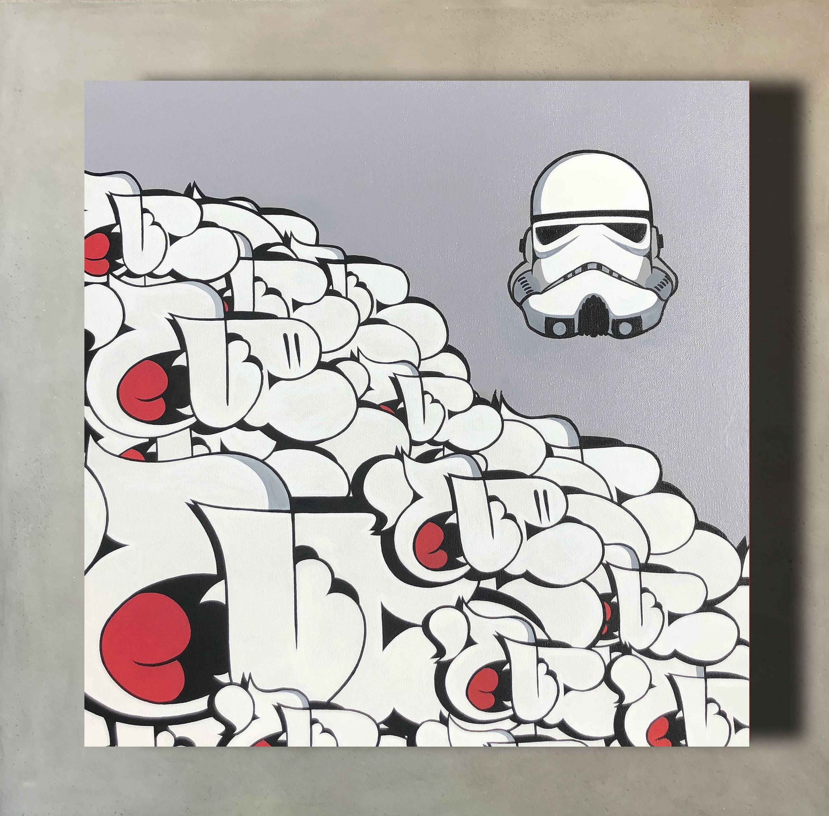 "Stormtrooper x Nover, 24x24"" Acrylic on Canvas, 2016."