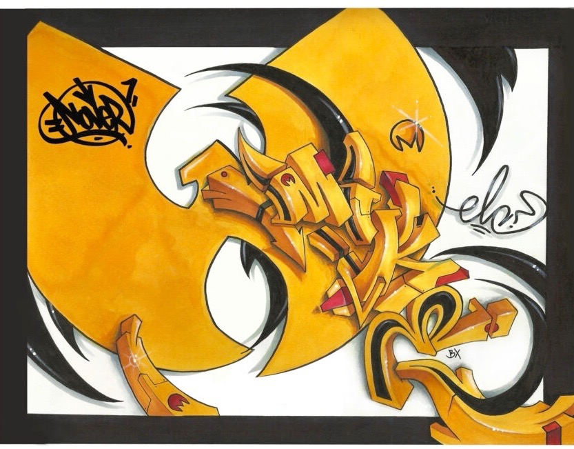 Wu-Tang Wu Bird by Nover, Markers & Pen on Paper, 2012.