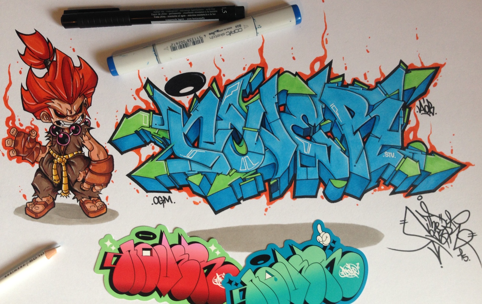 Akuma x Nover, markers on paper.  2015.