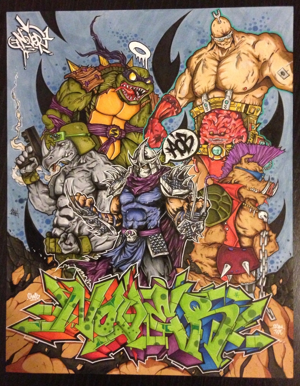 Teenage Mutant Ninja Turtles Villains by Nover, markers & pen on paper, 2014.