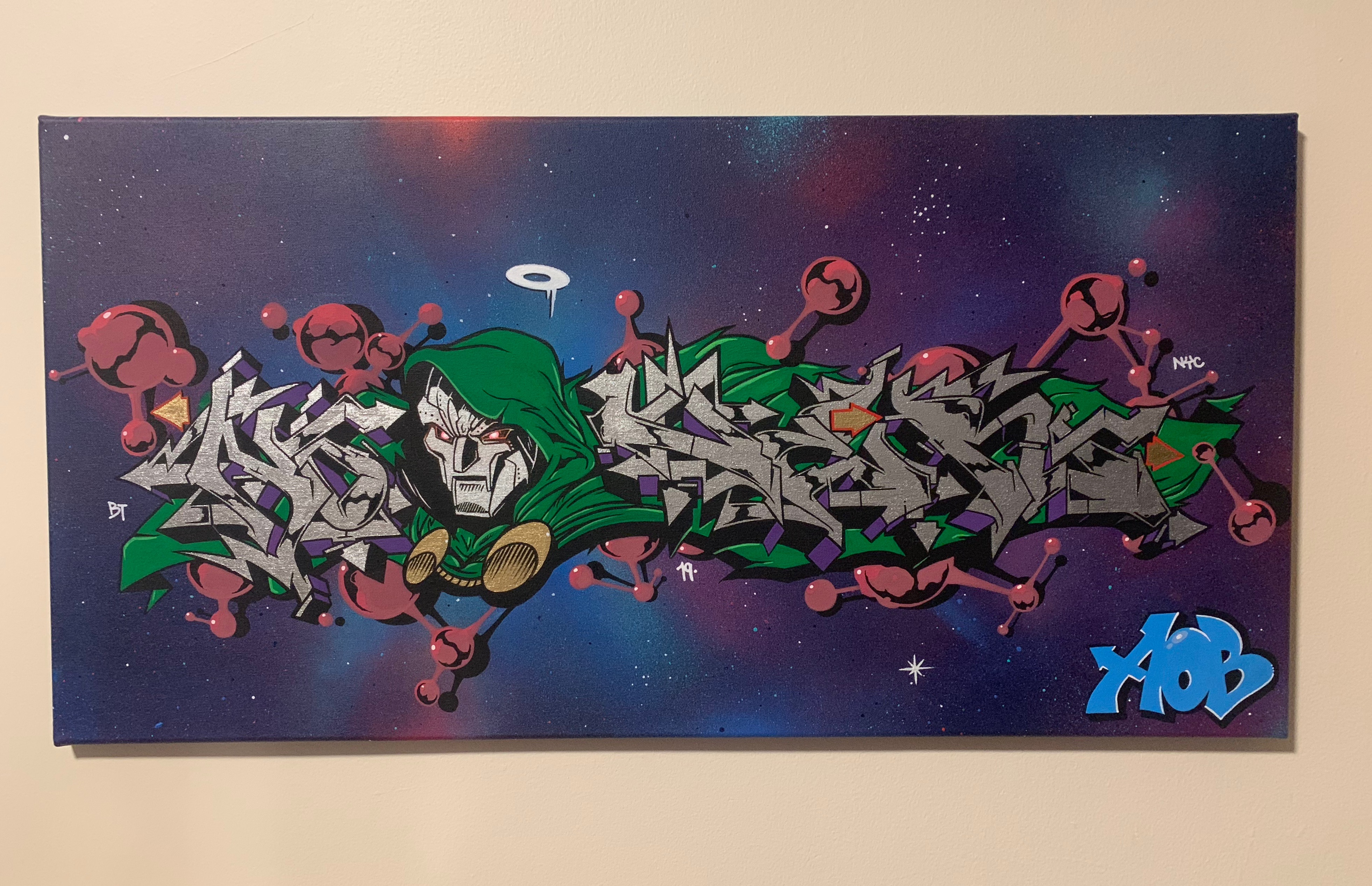 Doom x Nover, Markers and Spray Paint on Canvas. 2019.