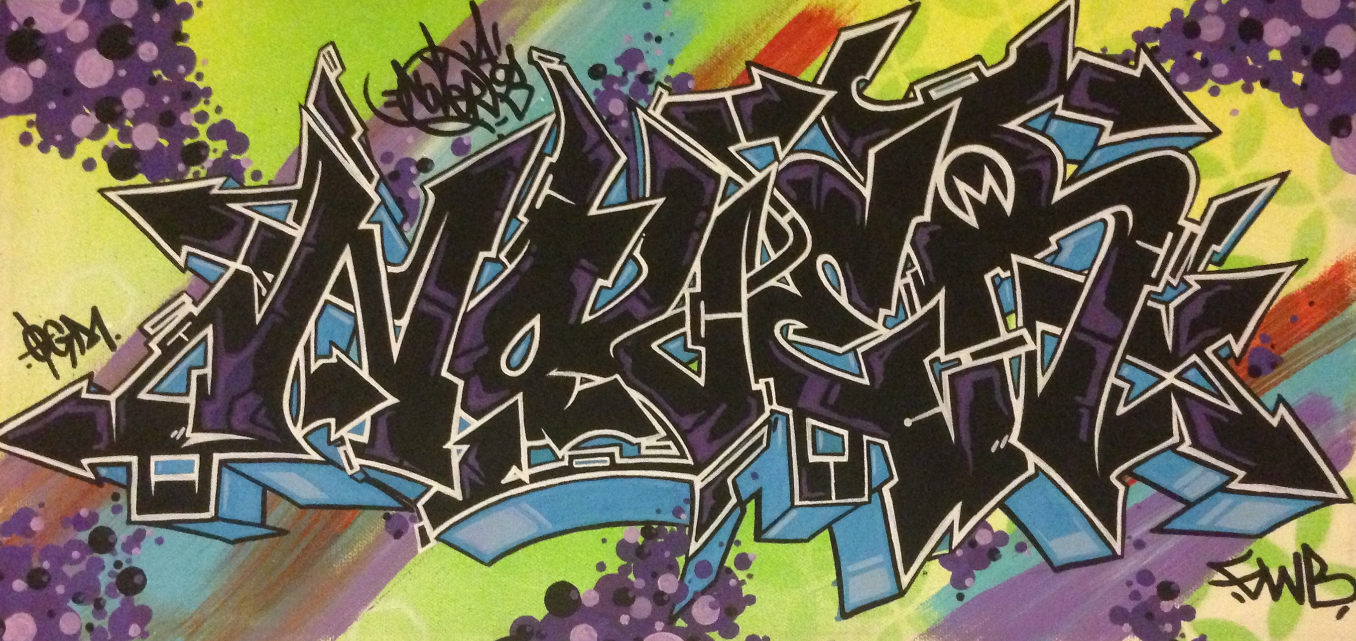 Nover, Canvas with Markers & Spray Paint. 2014.