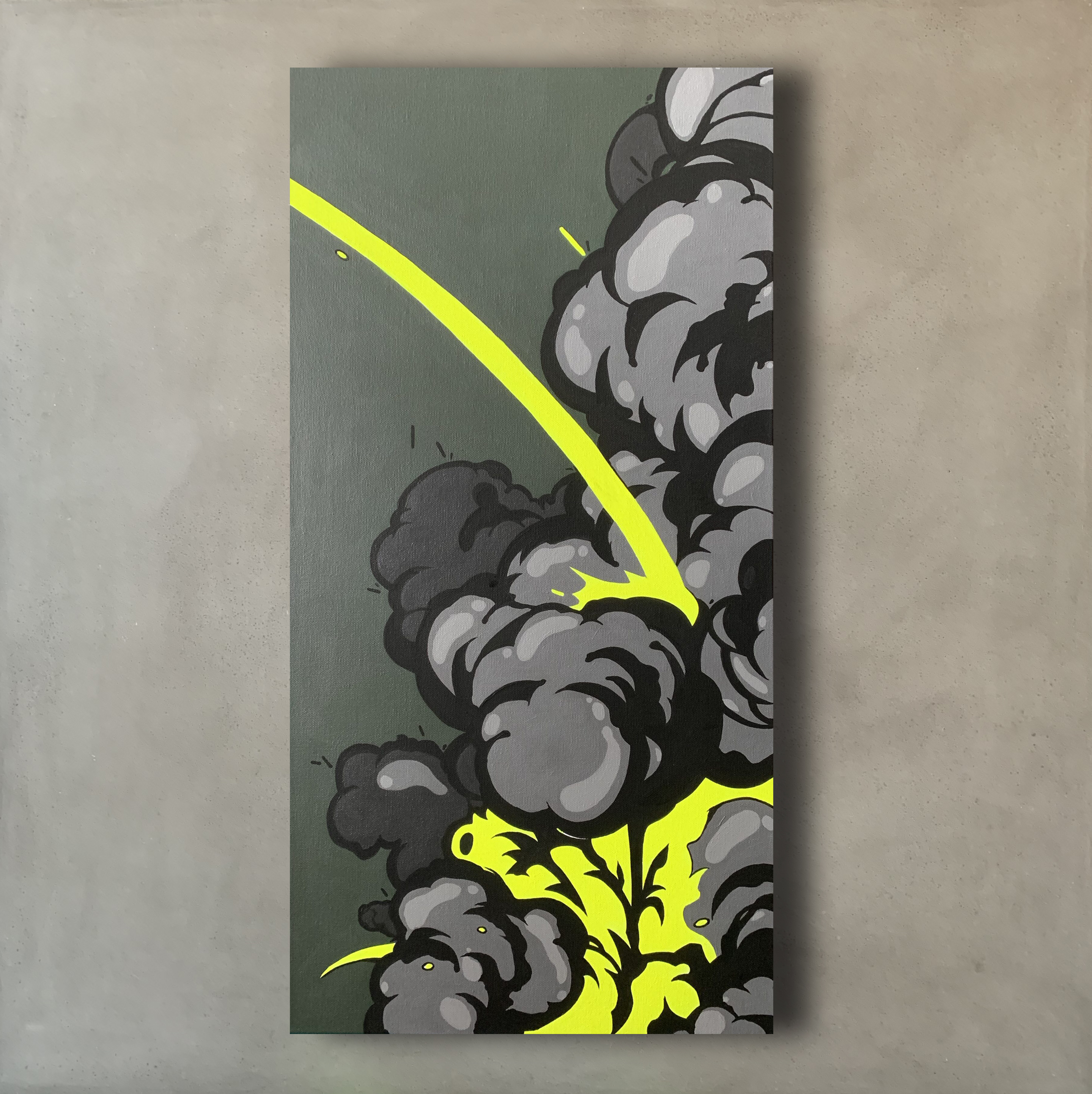 "Explosion on Impact, ""16 x 36"" Acrylic Canvas by Nover, 2018."