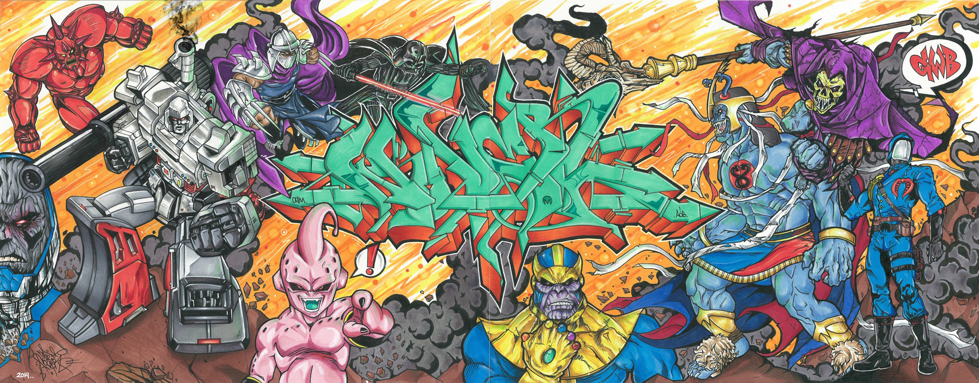 Greatest Villains by Nover, markers & pen on paper, 2014.