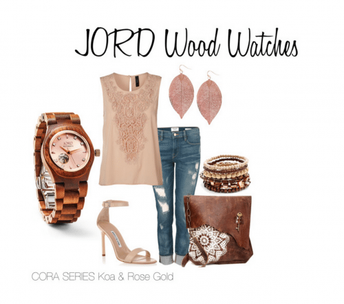 Jord Wood Watch Cora Series Koa Rose Gold