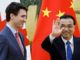 Justin Trudeau with Chinese Premier Li.