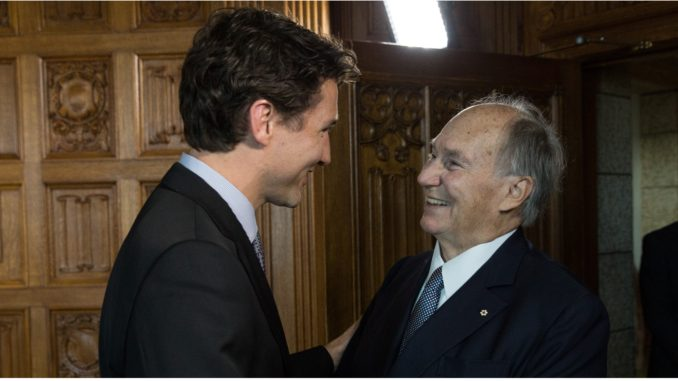 Justin Trudeau greets the Aga Khan in Ottawa in May 2016.