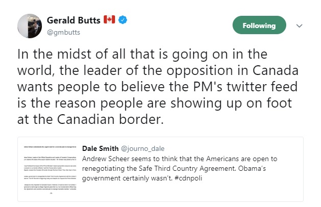 Gerry Butts tweeted against reality on the border issue.