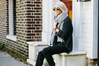 Charleston Strolls Forever 21 Navy knit Sweater Oversized Scarf Pinstripe Pants Zara ankle boots // Charleston Fashion Blogger Dannon Like The Yogurt